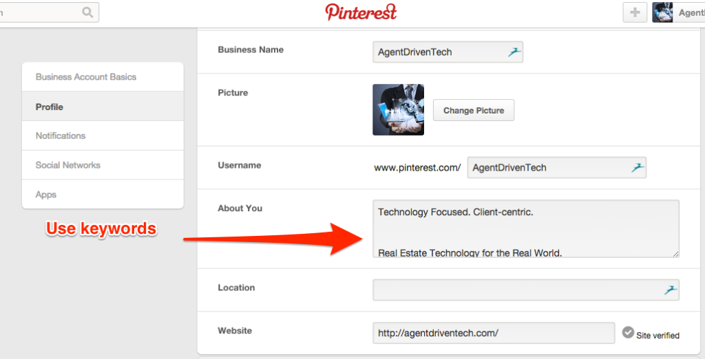 Use keywords when setting up Pinterest profile