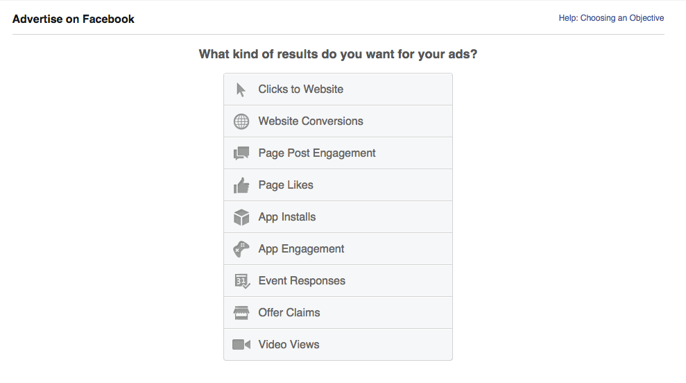 What do you want from your Facebook ad?